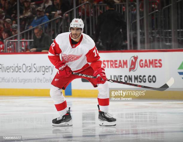 Andreas Athanasiou of the Detroit Red Wings skates against the New Jersey Devils at Prudential Center on November 17 2018 in Newark New Jersey The...