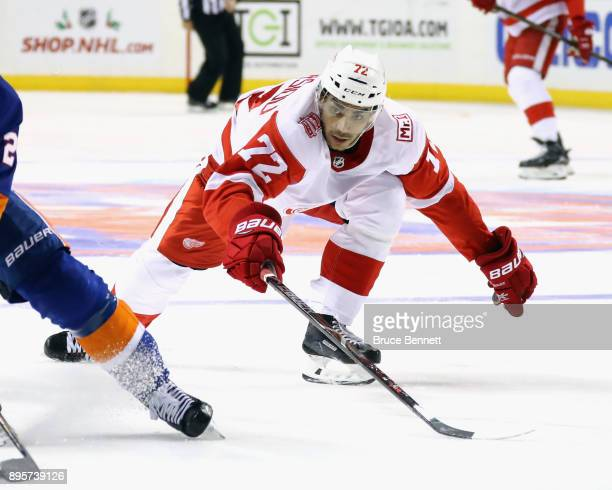 Andreas Athanasiou of the Detroit Red Wings skates against the New York Islanders at the Barclays Center on December 19 2017 in the Brooklyn borough...