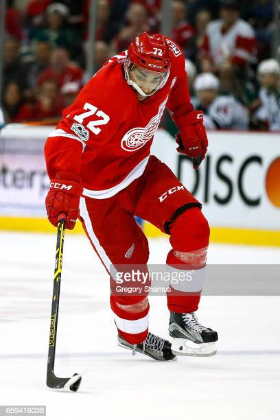 Andreas Athanasiou of the Detroit Red Wings skates against the Minnesota Wild at Joe Louis Arena on March 26 2017 in Detroit Michigan