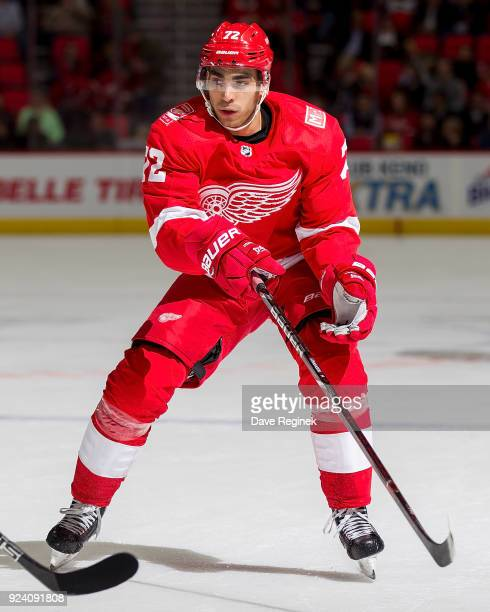 Andreas Athanasiou of the Detroit Red Wings skates up ice against the Buffalo Sabres during an NHL game at Little Caesars Arena on February 22 2018...