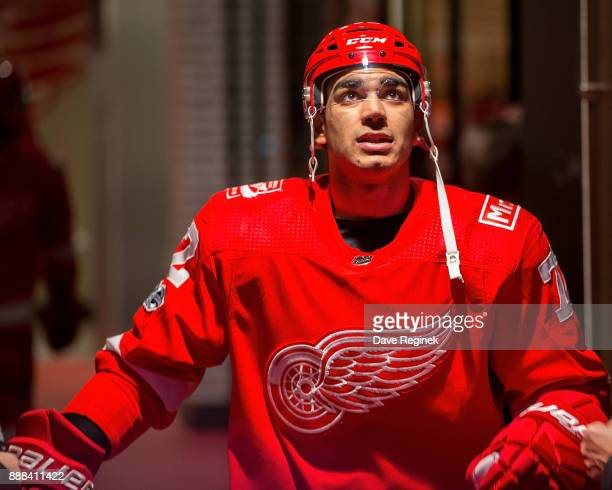 Andreas Athanasiou of the Detroit Red Wings walks out to the ice prior to an NHL game against the Winnipeg Jets at Little Caesars Arena on December 5...