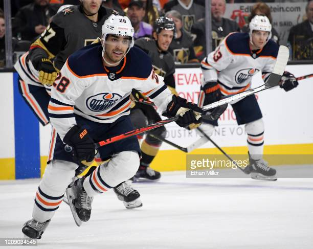 Andreas Athanasiou of the Edmonton Oilers skates against the Vegas Golden Knights in the second period of their game at TMobile Arena on February 26...
