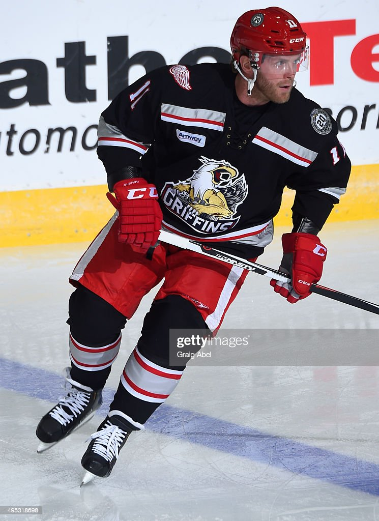 Andreas Athanasiou #11 of the Grand Rapids Griffins takes warmup prior to a game against the Toronto Marlies on October 30, 2015 at Ricoh Coliseum in Toronto, Ontario, Canada.