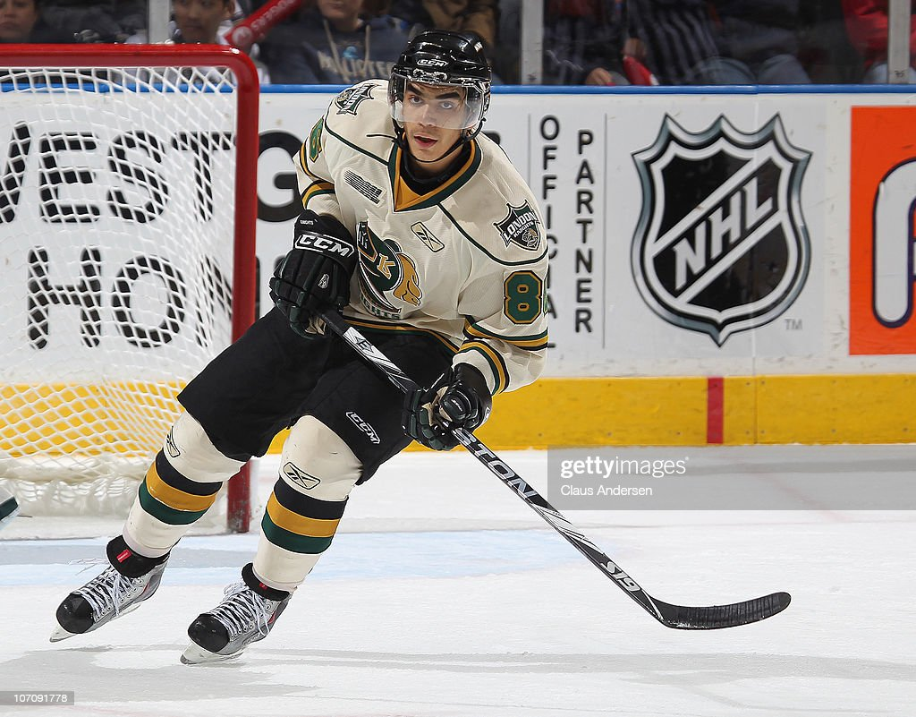 Andreas Athanasiou #86 of the London Knights skates in a game against the Kingston Frontenacs on November 21, 2010 at the John Labatt Centre in London, Ontario, Canada. The Knights defeated the Frontenacs 4-3 in a shoot-out.