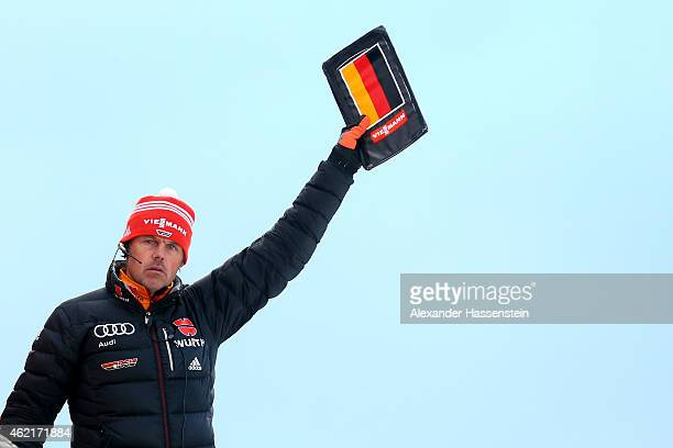 Andreas Bauer head coach of team Germany looks on during day two of the Women Ski Jumping World Cup event at SchattenbergSchanze Erdinger Arena on...