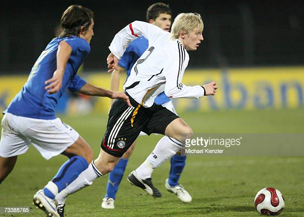 Andreas Beck during the Under 21 friendly match between Germany and Italy at the Kreuzeiche stadium on February 21 2007 in Reutlingen Germany