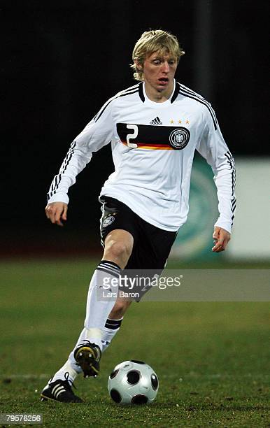Andreas Beck of Germany runs with the ball during the friendly match between U21 of Germany and U23 of Belgium at the Stadion Oberwerth on February...
