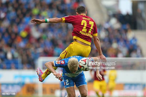 Andreas Beck of Hoffenheim battles for the ball with Idir Ouali of Paderborn during the Bundesliga match between TSV 1899 Hoffenheim and SC Paderborn...