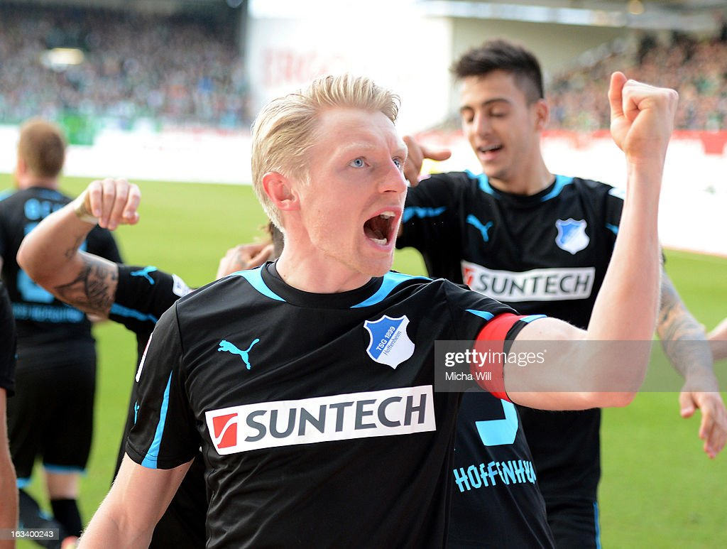 Andreas Beck of Hoffenheim celebrates after scoring his team's second goal during the Bundesliga match between SpVgg Greuther Fuerth and TSG 1899 Hoffenheim at Trolli-Arena on March 9, 2013 in Fuerth, Germany.