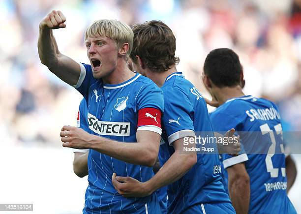 Andreas Beck of Hoffenheim celebrates with team mates after scoring a goal during the Bundesliga match between 1899 Hoffenheim and 1 FC Nuernberg at...