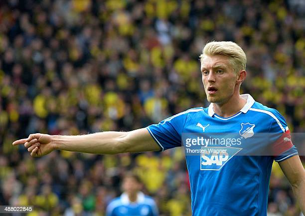 Andreas Beck of Hoffenheim gestures during the Bundesliga match between Borussia Dortmund and TSG 1899 Hoffenheim at Signal Iduna Park on May 3 2014...