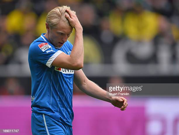 Andreas Beck of Hoffenheim looks dejected during the Bundesliga match between Borussia Dortmund and TSG 1899 Hoffenheim at Signal Iduna Park on May...