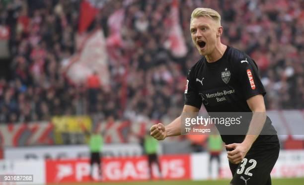 Andreas Beck of Stuttgart celebrates after scoring his team`s third goal during the Bundesliga match between 1 FC Koeln and VfB Stuttgart at...