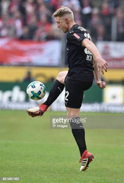 Andreas Beck of Stuttgart controls the ball during the Bundesliga match between 1 FC Koeln and VfB Stuttgart at RheinEnergieStadion on March 4 2018...