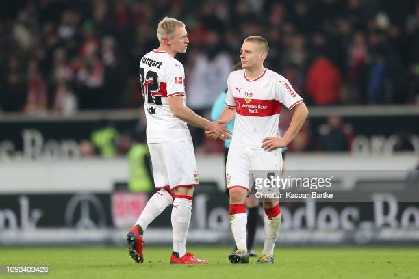 Andreas Beck of VfB Stuttgart and Santiago Ascacibar of VfB Stuttgart reacts disappointed after the Bundesliga match between VfB Stuttgart and...