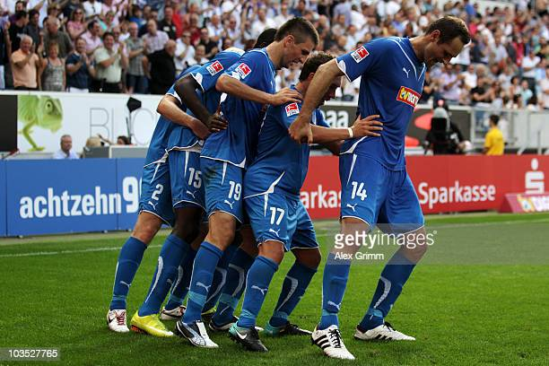 Andreas Beck Peniel Mlapa Vedad Ibisevic Tobias Weis and Josip Simunic celebrates their team's second goal by Mlapa during the Bundesliga match...