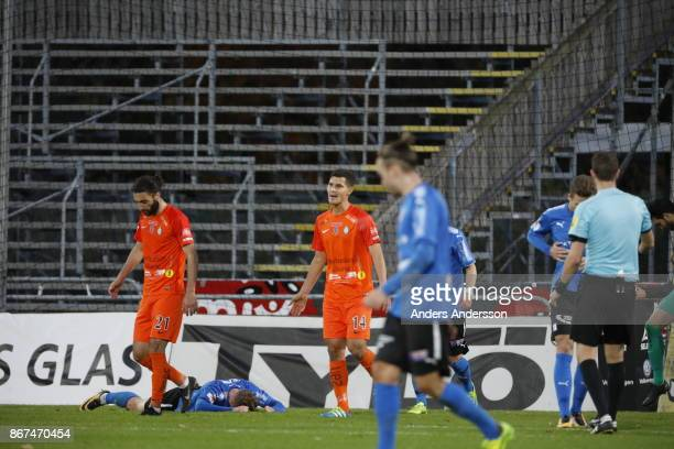 Andreas Bengtsson of Halmstad BK on the ground during the Allsvenskan match between Halmstad BK and Athletic FC Eskilstuna at Orjans Vall on October...