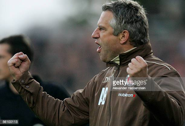 Andreas Bergmann coach of St Pauli celebrates winning the match after the match of the Third Bundesliga between FC St Pauli and Rot Weiss Essen at...