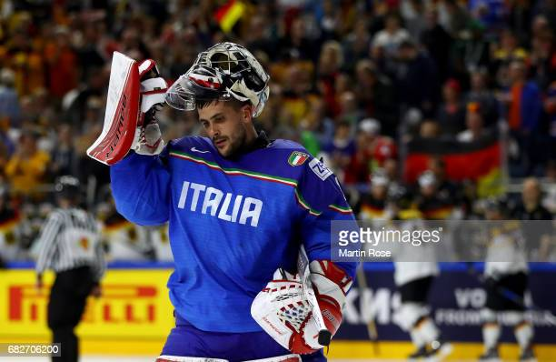 Andreas Bernard goaltender of Italy looks dejected during the 2017 IIHF Ice Hockey World Championship game between Italy and Germany at Lanxess Arena...