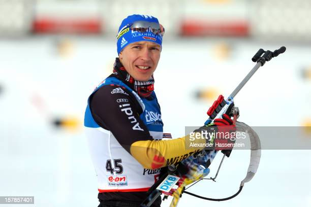 Andreas Birnbacher of Germany at the zeoring for the men's 10km sprint event during the IBU Biathlon World Cup on December 7, 2012 in Hochfilzen,...