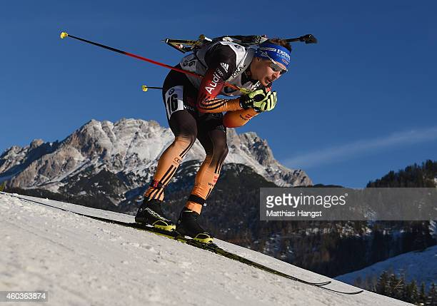 Andreas Birnbacher of Germany competes in the men's 10 km sprint event during the IBU Biathlon World Cup on December 12 2014 in Hochfilzen Austria