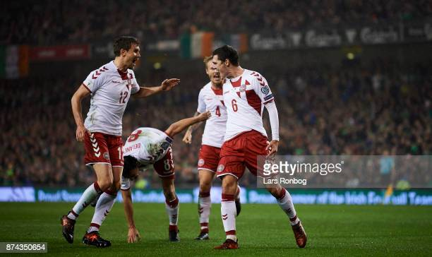 Andreas Bjelland and Andreas Christensen of Denmark celebrate after scoring their first goal during the FIFA 2018 World Cup Qualifier PlayOff Second...