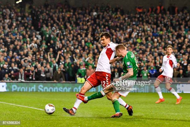 Andreas Bjelland during the FIFA World Cup 2018 qualification Play off football match between Republic of Ireland and Denmark at the Aviva Stadium in...