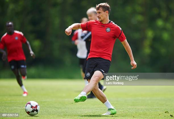 Andreas Bjelland in action during the Denmark training session at Brondby Stadion on June 2 2017 in Brondby Denmark