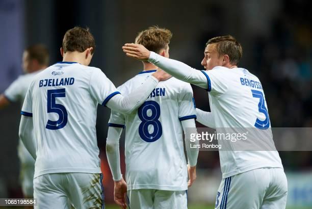 Andreas Bjelland Nicolaj Thomsen and Pierre Bengtsson of FC Copenhagen celebrate after scoring their second goal during the Danish Superliga match...