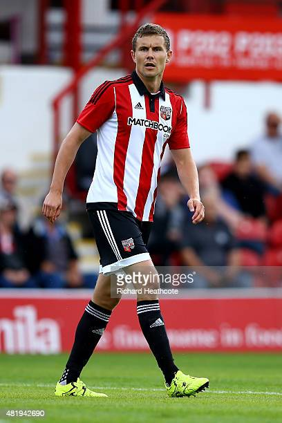 Andreas Bjelland of Brentford in action during the Pre Season Friendly match between Brentford and Stoke City at Griffin Park on July 25 2015 in...