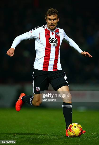 Andreas Bjelland of Brentford in action during the Sky Bet Championship match between Brentford and Fulham at Griffin Park on November 4 2016 in...