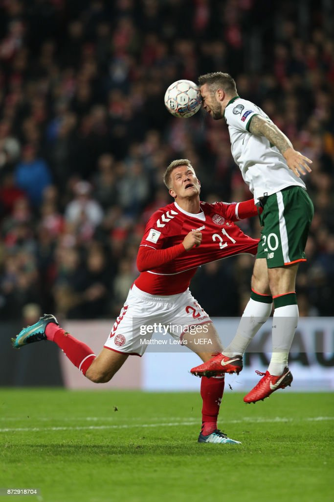 Andreas Bjelland of Denmark and Shane Duffy of the Republic of Ireland in action during the FIFA 2018 World Cup Qualifier Play-Off: First Leg between Denmark and Republic of Ireland at Telia Parken on November 11, 2017 in Copenhagen, .