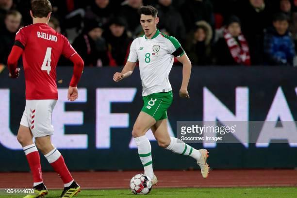 Andreas Bjelland of Denmark Callum O Dowda of Republic of Ireland during the UEFA Nations league match between Denmark v Republic of Ireland at the...