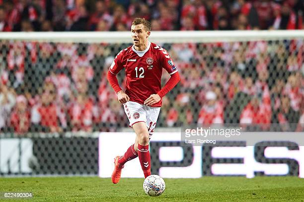 Andreas Bjelland of Denmark controls the ball during the FIFA 2018 World Cup Qualifier match between Denmark and Kazakhstan at Telia Parken Stadium...