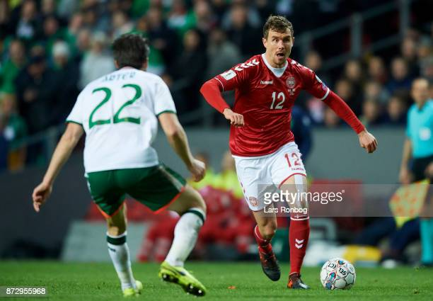 Andreas Bjelland of Denmark controls the ball during the FIFA 2018 World Cup Qualifier PlayOff First Leg match between Denmark and Republic of...