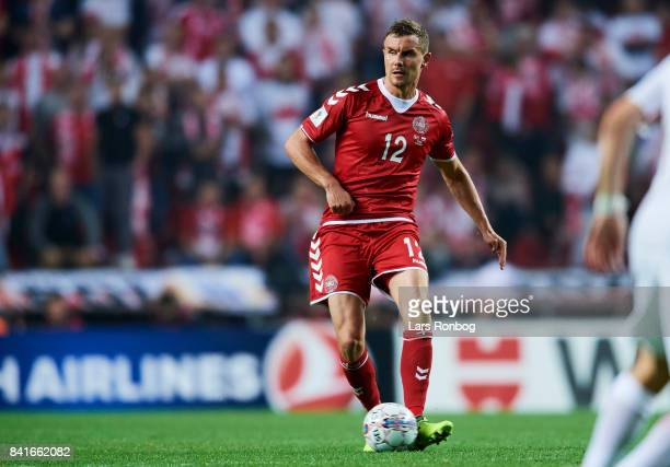 Andreas Bjelland of Denmark controls the ball during the FIFA World Cup 2018 qualifier match between Denmark and Poland at Telia Parken Stadium on...