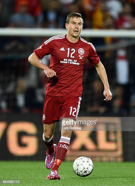 Andreas Bjelland of Denmark controls the ball during the international friendly between Denmark and Turkey at TreFor Park on September 3 2014 in...