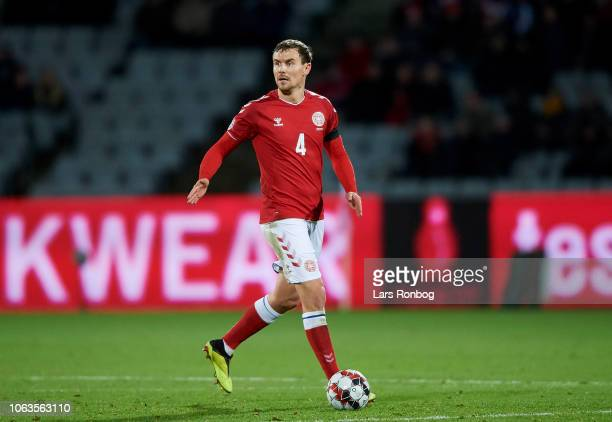 Andreas Bjelland of Denmark controls the ball during the UEFA Nations League match between Denmark and Ireland at Ceres Park on November 19 2018 in...