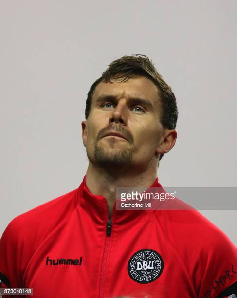 Andreas Bjelland of Denmark during the FIFA 2018 World Cup Qualifier PlayOff First Leg between Denmark and Republic of Ireland at Telia Parken on...