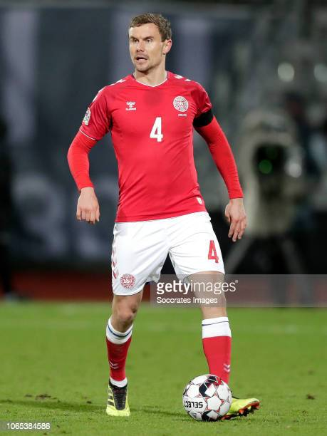 Andreas Bjelland of Denmark during the UEFA Nations league match between Denmark v Republic of Ireland at the Ceres Park on November 19 2018 in Aarhus