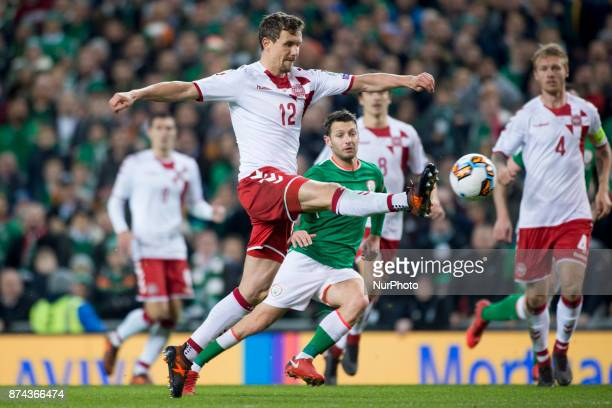 Andreas Bjelland of Denmark in action during the FIFA World Cup 2018 PlayOff match between Republic of Ireland and Denmark at Aviva Stadium in Dublin...