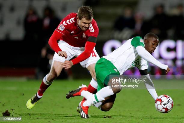 Andreas Bjelland of Denmark Michael Obafemi of Republic of Ireland during the UEFA Nations league match between Denmark v Republic of Ireland at the...