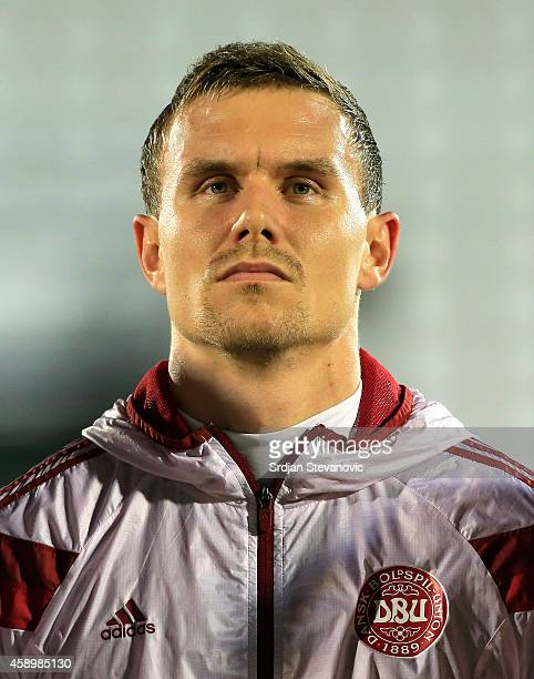 Andreas Bjelland of Denmark prior the Euro 2016 group I qualifying football match between Serbia and Denmark at Partizan Stadium on November 14 2014...