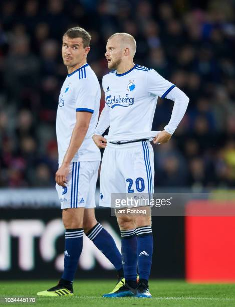 Andreas Bjelland of FC Copenhagen and Nicolai Boilesen of FC Copenhagen during the Danish Superliga match between FC Midtjylland and FC Copenhagen at...