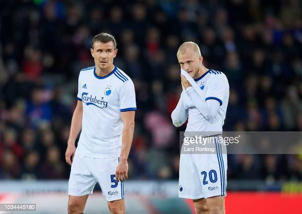 Andreas Bjelland of FC Copenhagen and Nicolai Boilesen of FC Copenhagen during the Danish Superliga match between FC Midtjylland and FC Copenhagen at...