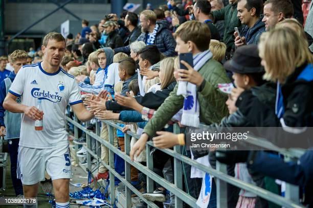 Andreas Bjelland of FC Copenhagen celebrating with fans after the Danish Superliga match between FC Copenhagen and FC Nordsjalland at Telia Parken...