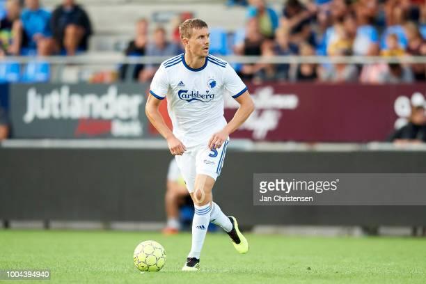 Andreas Bjelland of FC Copenhagen in action during the Danish Superliga match between Hobro IK and FC Copenhagen at DS Arena on July 23 2018 in Hobro...