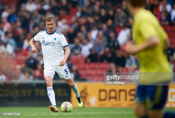 Andreas Bjelland of FC Copenhagen in action during the Danish Superliga match between FC Copenhagen and Brondby IF at Telia Parken Stadium on August...