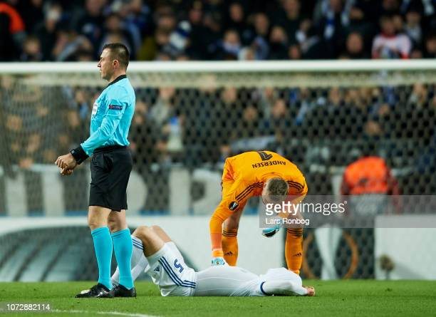 Andreas Bjelland of FC Copenhagen injured during the UEFA Europa League match between FC Copenhagen and Girondins de Bordeaux at Telia Parken Stadium...