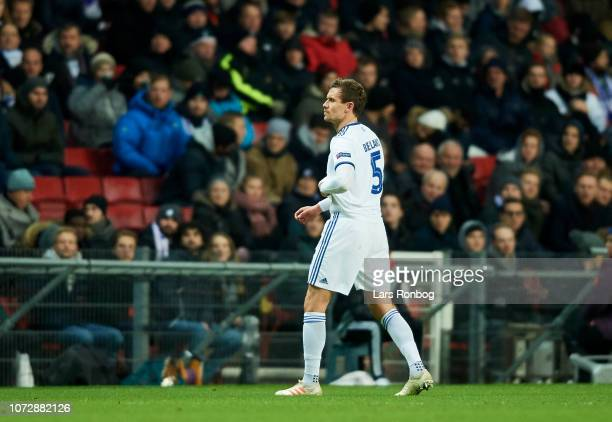 Andreas Bjelland of FC Copenhagen leaving the pitch injured during the UEFA Europa League match between FC Copenhagen and Girondins de Bordeaux at...